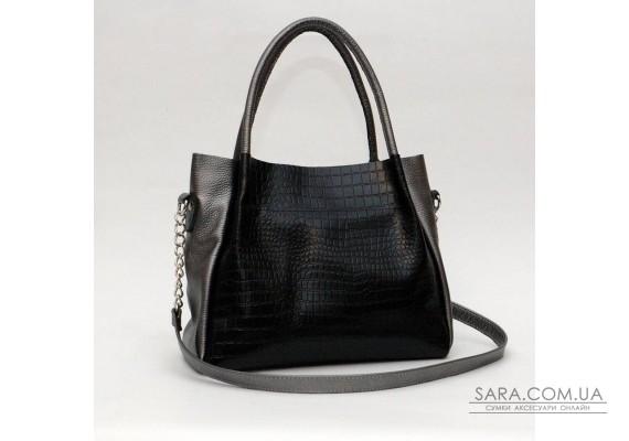 Сумка кожаная женская 330225 кайман черная с никель