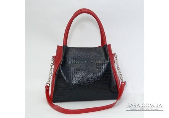 Сумка кожаная женская 330224 кайман черная с красным