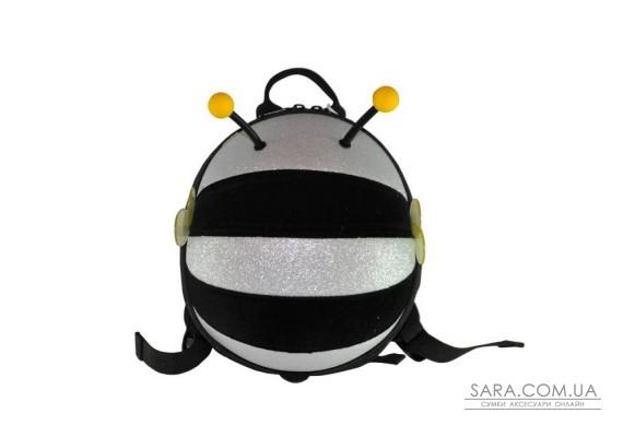 Рюкзак дошкільний SUPERCUTE у вигляді бджоли чорний з сріблястим