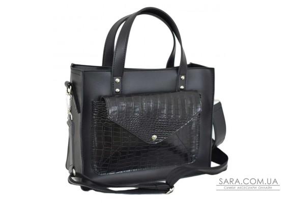 630 сумка крокодил чорна Lucherino