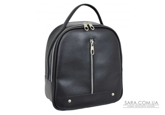 664 рюкзак шкіра чорний Lucherino