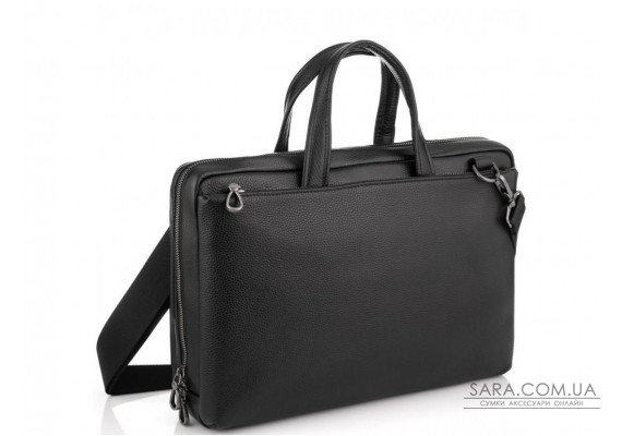 Сумка для ноутбука черная кожаная Tiding Bag NM29-88212-3A