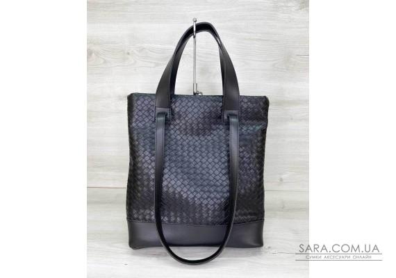 Жіноча сумка «Бруки» чорна плетена WeLassie