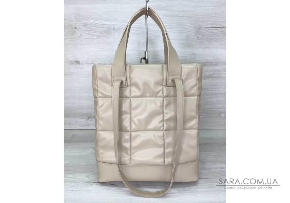 Жіноча сумка «Бруки» бежева стьобана WeLassie