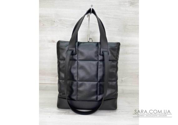 Жіноча сумка «Бруки» чорна стеганая WeLassie