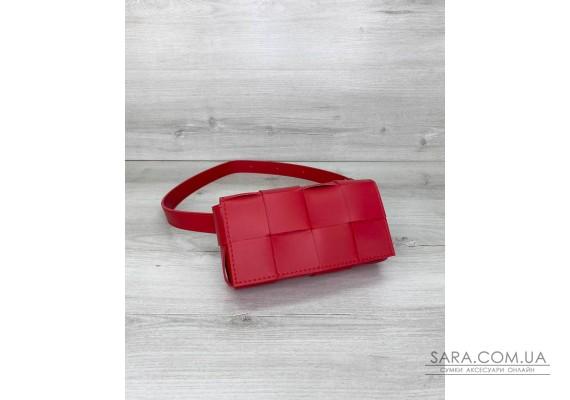 Жіноча сумка клатч на пояс «Енді» плетені червона WeLassie
