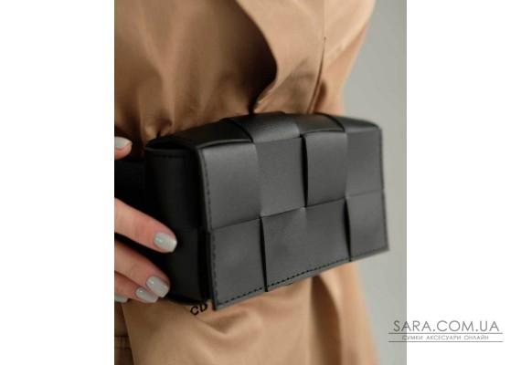 Жіноча сумка клатч на пояс «Енді» плетені чорна WeLassie