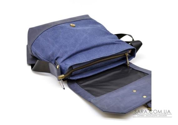 Сумка-мессенджер через плечо микс ткани канваз и кожи KK-1307-4lx от бренда TARWA