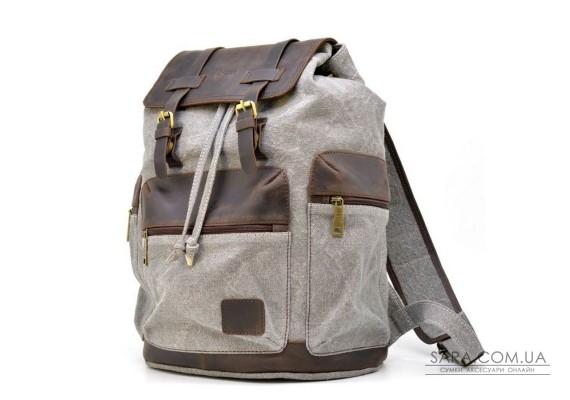 Рюкзак сірий (світлий) з парусини і шкіри RGj-0010-4lx від бренду TARWA