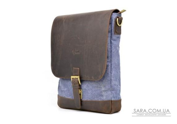 Вертикальная мужская сумка парусина и кожа RK-1808-4lx TARWA