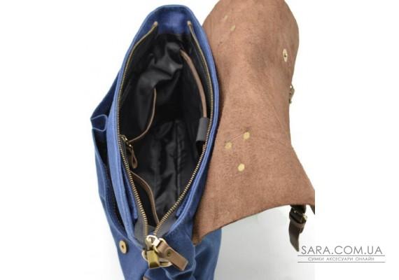 Чоловіча сумка-портфель шкіра + парусина RK-3960-4lx від українського бренду TARWA