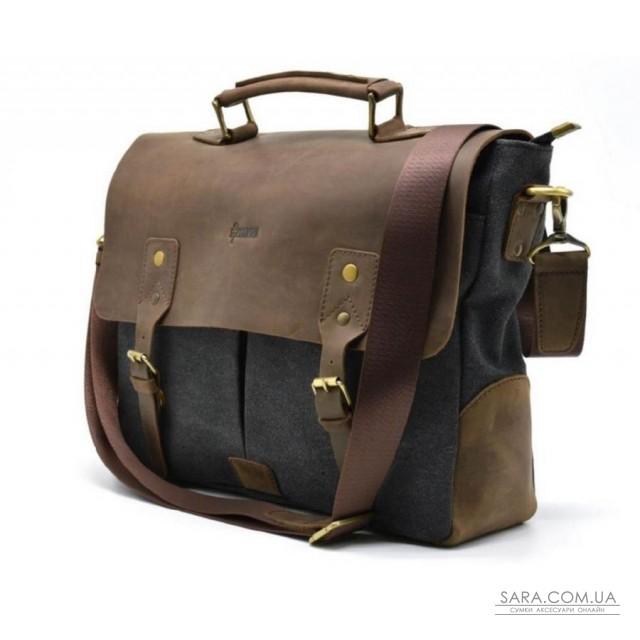 Чоловіча сумка-портфель шкіра + парусина RG-3960-4lx від українського бренду TARWA