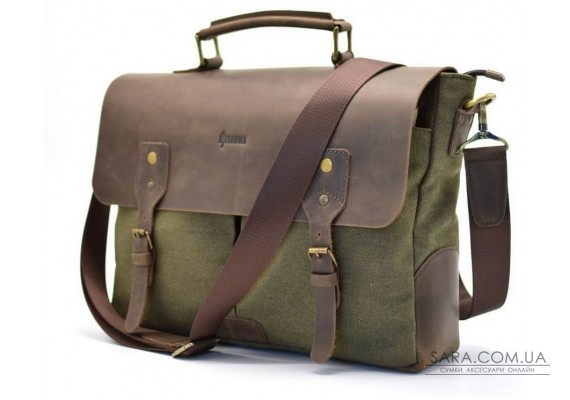 Чоловіча сумка-портфель шкіра + канвас RH-3960-4lx від українського бренду TARWA