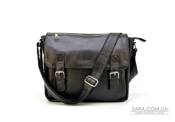 Мужская кожаная сумка через плечо с ручкой, подкладка - кожа TARWA, GA-6046-1md