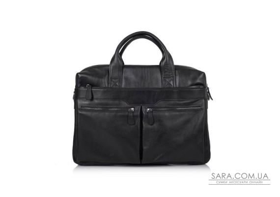 """Збільшена сумка зі шкіри """"черокі"""" для ноутбука чорного кольору TARWA GA-7122-3mdL"""