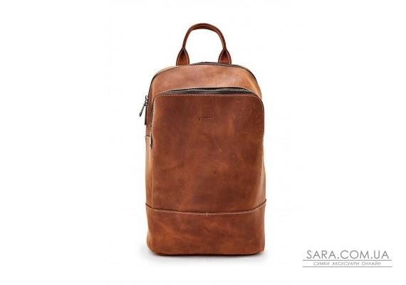 Жіночий рудий шкіряний рюкзак TARWA RB-2008-3md середнього розміру