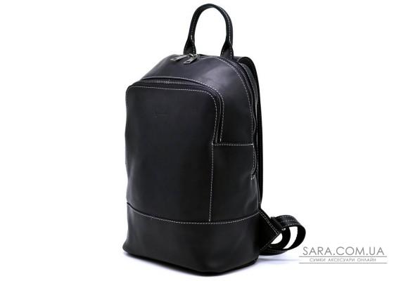 Жіночий чорний шкіряний рюкзак TARWA RA-2008-3md середнього розміру