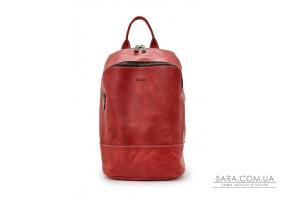 Жіночий червоний шкіряний рюкзак TARWA RR-2008-3md середнього розміру