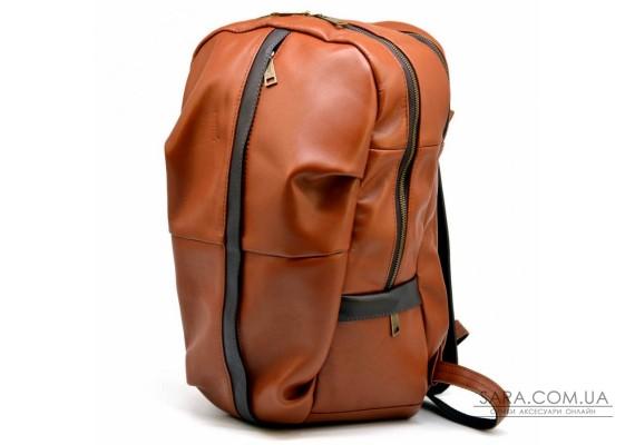 Чоловічий шкіряний міської рюкзак рудий з коричневим GB-7340-3md TARWA