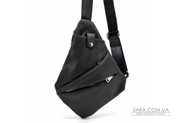 Рюкзак на косуха на одне плече RA-6402-4lx чорна бренд TARWA блискавка нікель