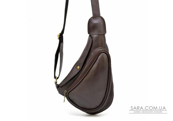 Слінг рюкзак на одне плече з телячої шкіри GC-3026-3md бренд Tarwa коричневий