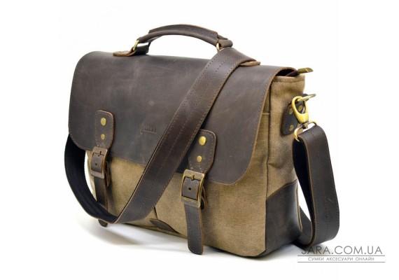Чоловіча сумка-портфель мікс тканини канвас і шкіри RSc-3960-3md TARWA