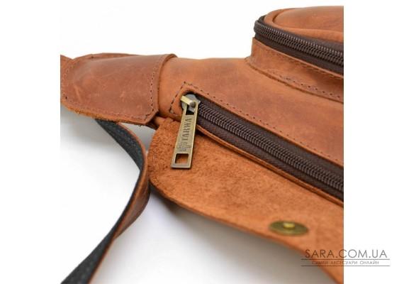 Шкіряний рюкзак TARWA RB-3026-3md на одне плече з накладною кишенею