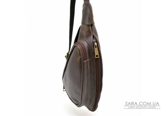 Шкіряний рюкзак TARWA TC-3026-3md на одне плече з накладною кишенею