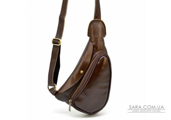 Шкіряний рюкзак TARWA AC-3026-3md на одне плече з накладною кишенею