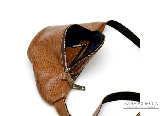 "Рыжая напоясная сумка с тиснением ""Крокодил"" TARWA RP3-3036-3md"