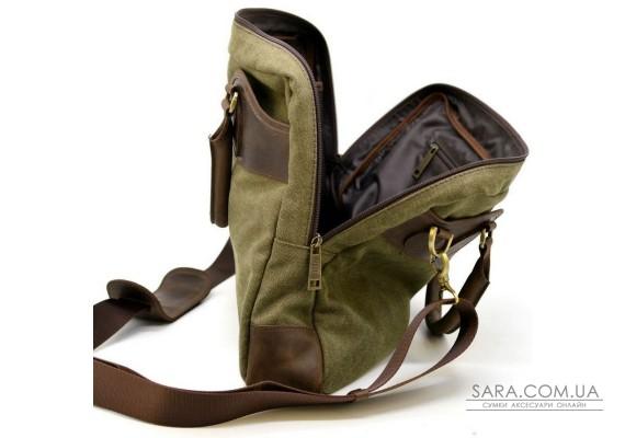 Чоловіча сумка мікс канвас + натуральна шкіра RH-8839-4lx TARWA