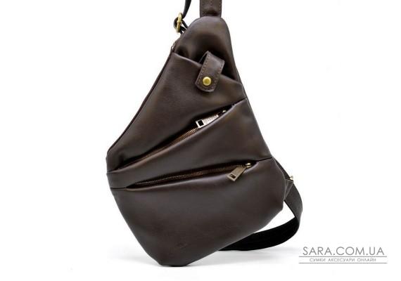 Мужская кожаная сумка-слинг GC-6402-3md коричневая бренд TARWA