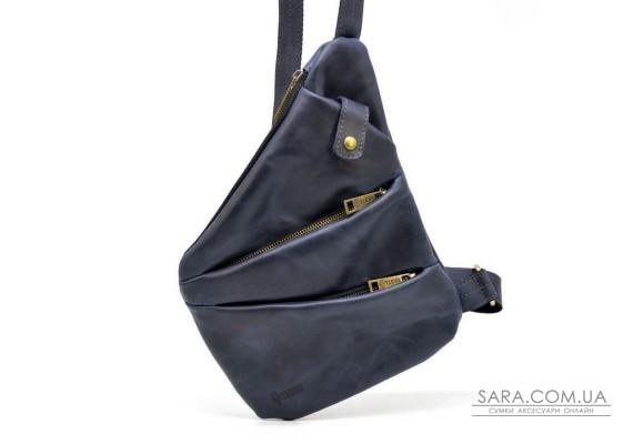 Мужская кожаная сумка-слинг RK-6402-3md темно-синяя бренд TARWA