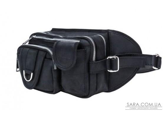 Кожаная поясная сумка на три отделения TARWA RA-1560-4lx черная с металлическим фастексом