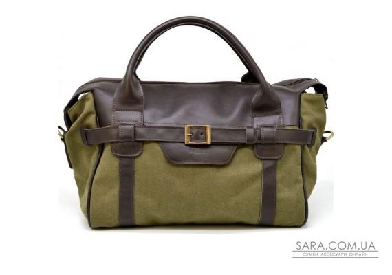 Дорожня комбінована (шкіра + канвас) сумка GH-7079-3md бренду TARWA