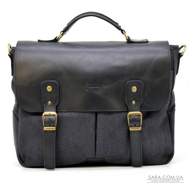 Чоловіча сумка портфель з канвас і кінської шкіри TARWA AG-3960-3md