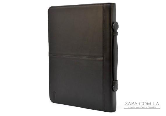 Папка шкіряна на блискавки з ручкою формату А4 + з органайзером коричнева TARWA GC-4495-4lx