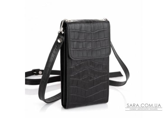 Кожаная женская сумка-чехол REP1-2122-4lx TARWA, чёрная