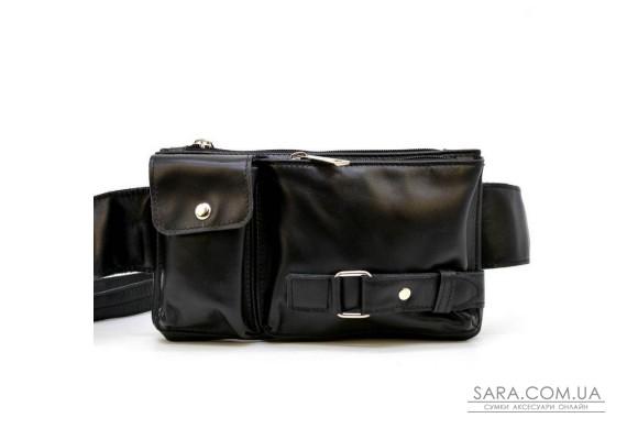 Кожаная сумка на пояс, бананка GA-8135-3md, черная, бренд Tarwa