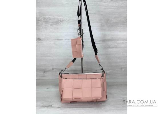 Жіноча сумка «Саллі» комплект 3 в 1 пудрова WeLassie