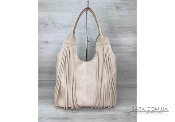 Жіноча сумка «Хелен» бежева плетена WeLassie