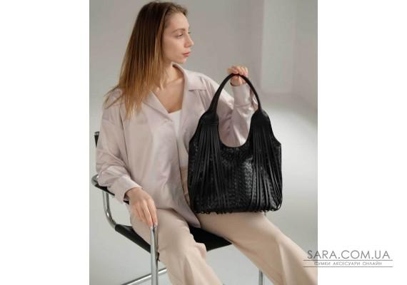 Жіноча сумка «Хелен» чорна плетена WeLassie