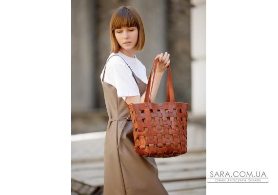 Шкіряна плетена жіноча сумка Пазл L світло-коричнева Krast - BN-BAG-33-k BlankNote