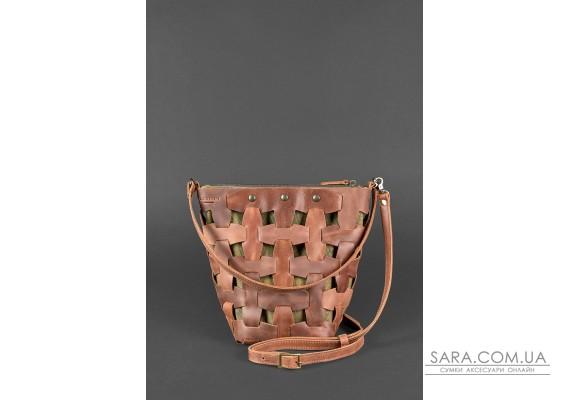 Шкіряна плетена жіноча сумка Пазл M світло-коричнева Crazy Horse - BN-BAG-32-k-kr BlankNote