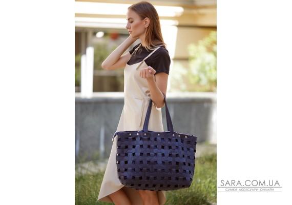 Шкіряна плетена жіноча сумка Пазл Xl синя Crazy Horse - BN-BAG-34-nn BlankNote