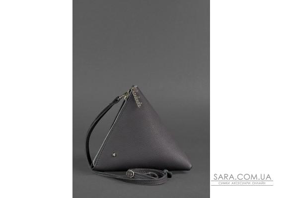 Кожаная женская сумка-косметичка Пирамида черная - BN-BAG-25-onyx BlankNote