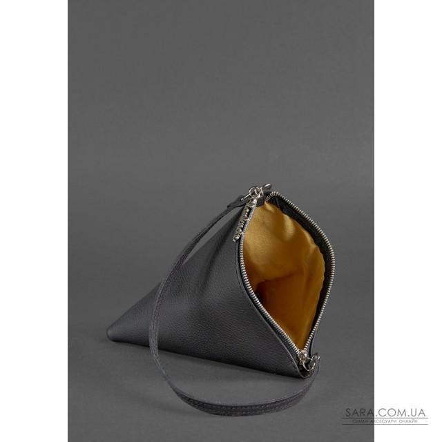Купити Шкіряна жіноча сумку-косметичка Піраміда чорна - BN-BAG-25-onyx BlankNote. Україна
