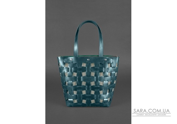 Шкіряна плетена жіноча сумка Пазл L зелена Krast - BN-BAG-33-malachite BlankNote