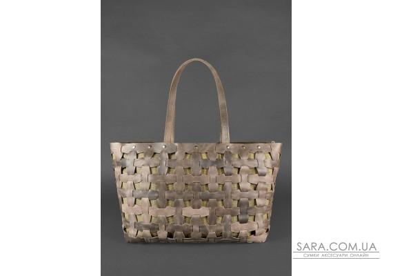 Шкіряна плетена жіноча сумка Пазл Xl темно-коричнева Crazy Horse - BN-BAG-34-o BlankNote