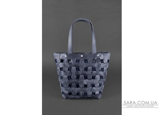 Шкіряна плетена жіноча сумка Пазл L синя Crazy Horse - BN-BAG-33-nn BlankNote